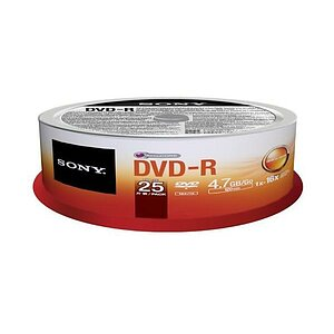 Sony DVD-R, 4.7GB, 16x, recordable, 25DPR47SP, (25er Spindel)